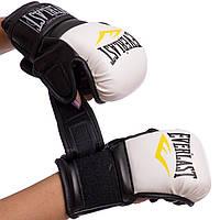 Перчатки гибридные для единоборств PU (СКИДКА НА р.M) EVERLAST бело-черные BO-4612 OF
