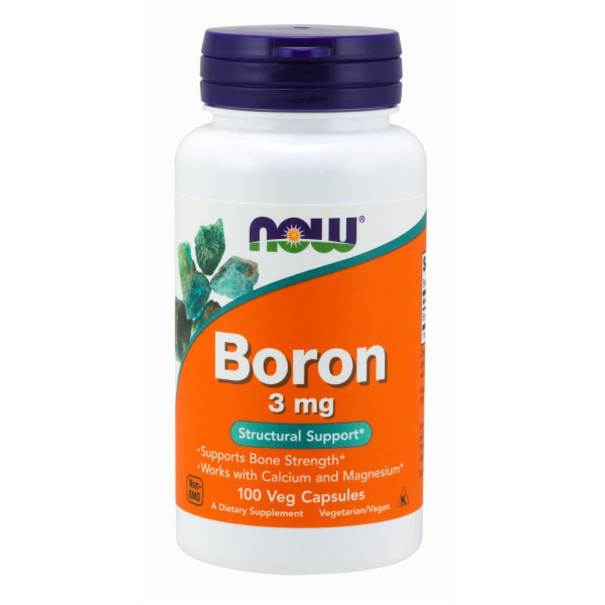 Бор, 3 мг, Boron 3 mg, Now Foods, 100 вегетарианских капсул