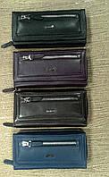 Кошелек кожаный женский бумажник черный на молнии(Турция)