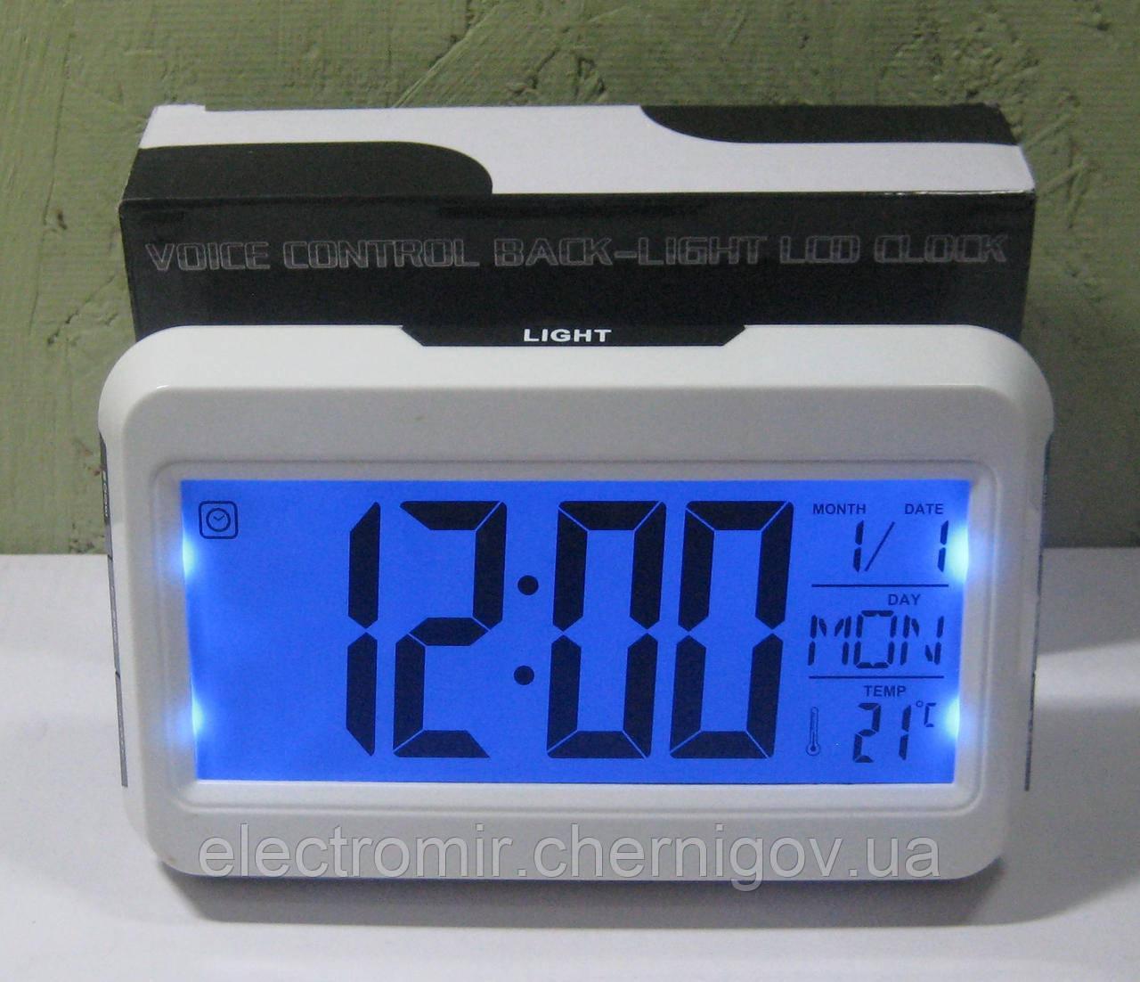 Часы настольные с датчиком хлопка DS-2616 (термометр, будильник, календарь)