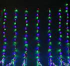 Гирлянда штора водопад светодиодная, 300 LED, Мультицветная, прозрачный провод, 2х2м., фото 6