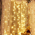 Гирлянда штора водопад светодиодная, 300 LED, Золотая (Желтая), прозрачный провод, 2х2м., фото 5