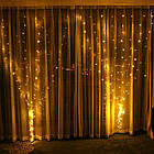 Гирлянда штора водопад светодиодная, 300 LED, Золотая (Желтая), прозрачный провод, 2х2м., фото 9