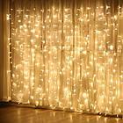 Гирлянда штора водопад светодиодная, 300 LED, Золотая (Желтая), прозрачный провод, 2х2м., фото 10