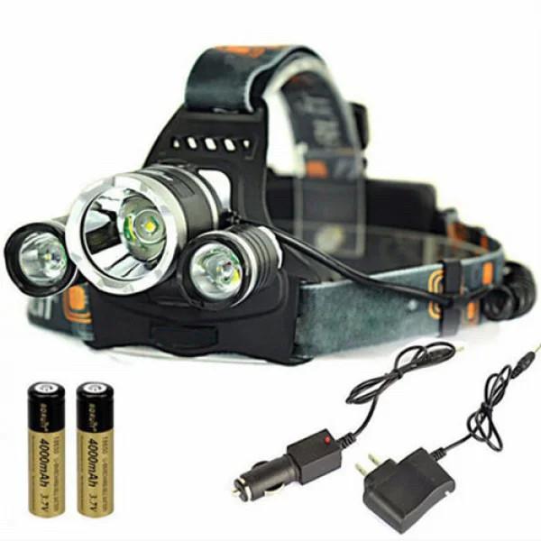 Мощный Налобный светодиодный Фонарик boruit rj3000 Фонарь t6 для Охоты рыбалки аккумуляторны налобний ліхтар