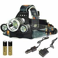 Мощный Налобный светодиодный Фонарик boruit rj3000 Фонарь t6 для Охоты рыбалки аккумуляторны налобний ліхтар, фото 1