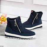 Удобные темно синие спортивные текстильные женские кроссовки ботинки дутики, фото 4