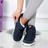 Удобные темно синие спортивные текстильные женские кроссовки ботинки дутики, фото 5