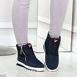 Удобные темно синие спортивные текстильные женские кроссовки ботинки дутики, фото 7