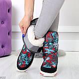 Нарядные черные текстильные женские сапоги дутики по доступной цене, фото 3