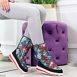 Нарядные черные текстильные женские сапоги дутики по доступной цене, фото 4