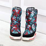 Нарядные черные текстильные женские сапоги дутики по доступной цене, фото 6