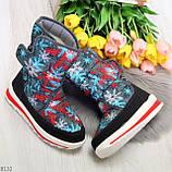 Нарядные черные текстильные женские сапоги дутики по доступной цене, фото 8