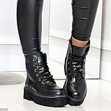 Женские черные зимние ботинки на грубой подошве в стиле милитари, фото 2