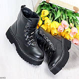 Женские черные зимние ботинки на грубой подошве в стиле милитари, фото 5