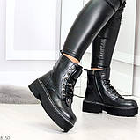 Женские черные зимние ботинки на грубой подошве в стиле милитари, фото 6