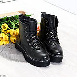 Женские черные зимние ботинки на грубой подошве в стиле милитари, фото 7
