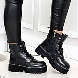Женские черные зимние ботинки на грубой подошве в стиле милитари, фото 8