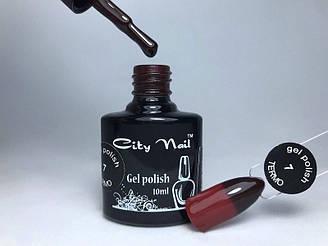 Термо гель лак красный с переходом в шоколадный CityNail 7 10мл арт.Термо7