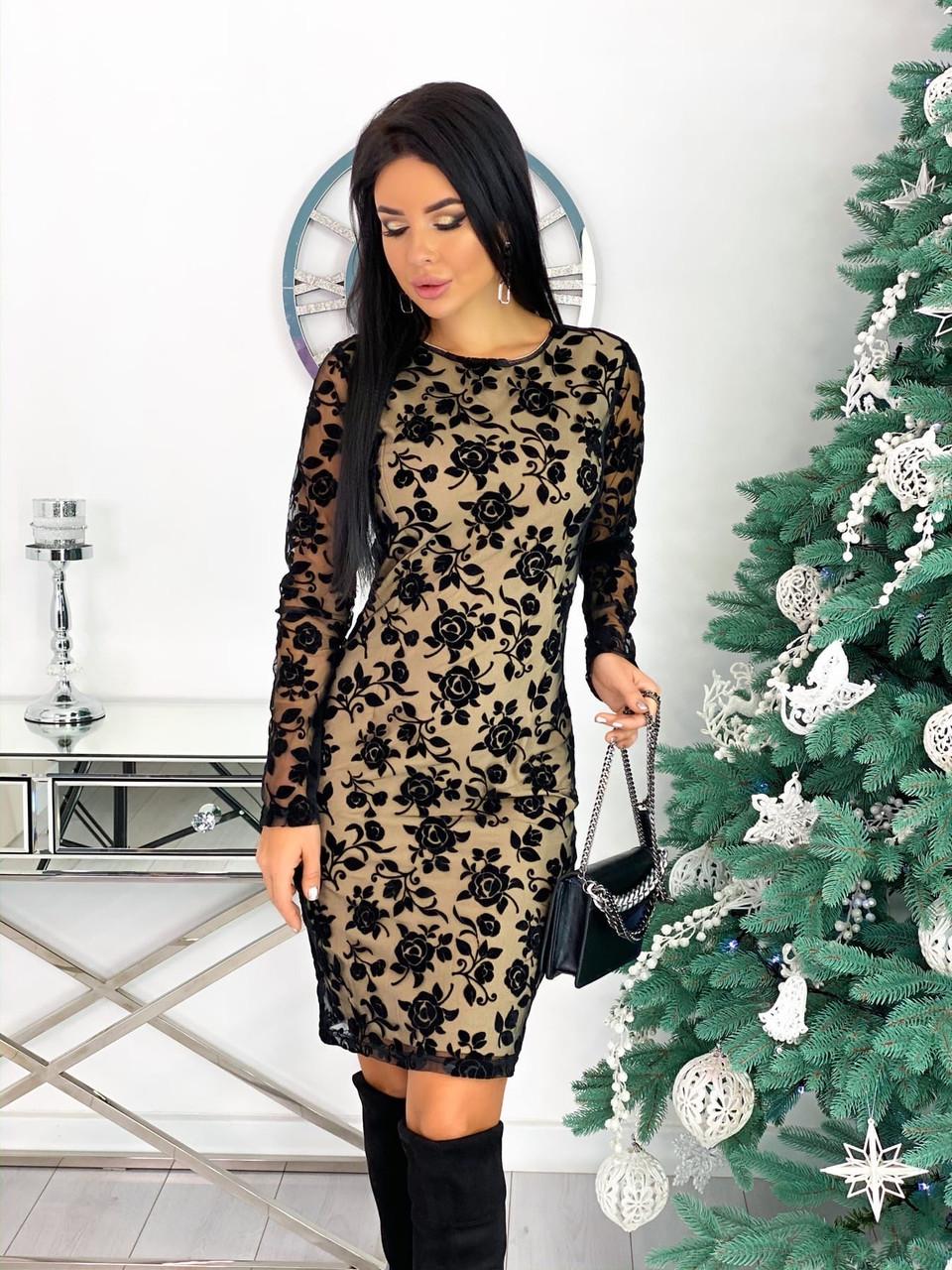 Платье женское с кружевом вечернее нарядное