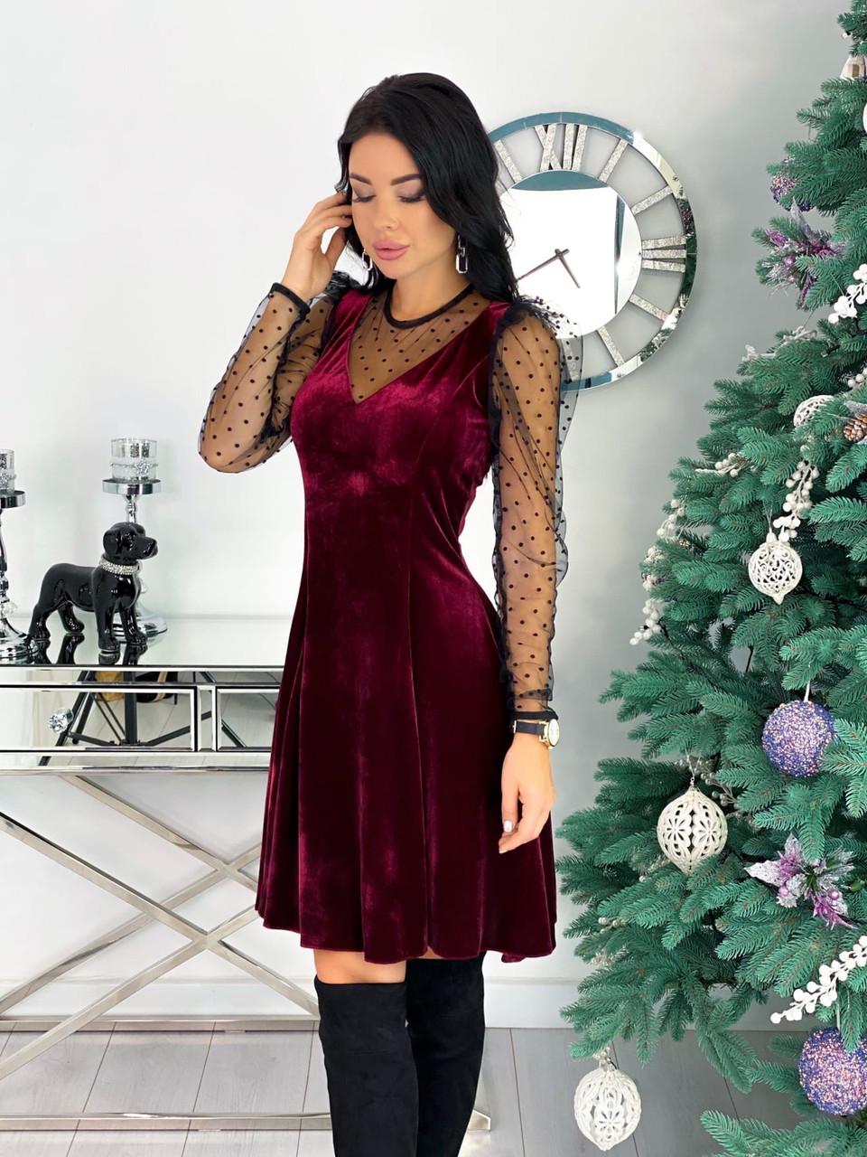 Платье женское бархатное вечернее нарядное
