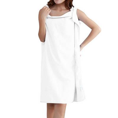 Рушник-сукня з лямками для лазні, сауни, басейну, пляжу, білий