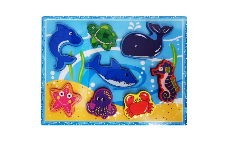 Деревянная игрушка Рамка-вкладыш MD 2195 (Морские животные)
