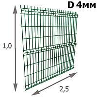 Секция ограждения забора из Сварной сетки 1х2,5м (зеленая) D прута 4мм