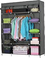 Шкаф Складной тканевый гардероб для хранения одежды с полками Easy Comfort 99150 Каркасный складной шкаф Серый