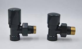 Комплект радіаторних кранів Varioterm Swing, чорний матовий