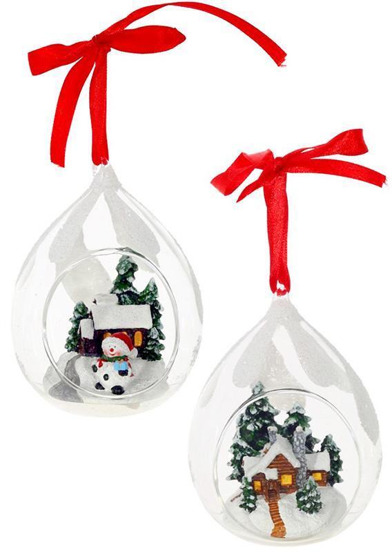 "Набор 4 подвески ""Зимняя сказка"" в стеклянном шаре, 8.2х7.2х11см"