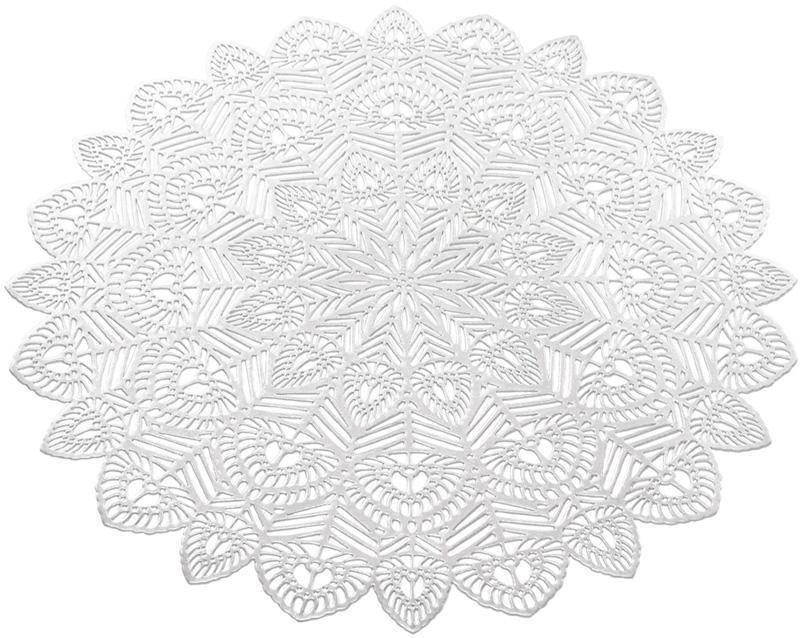 Набор 6 сервировочных ковриков Margrese Хризантема Ø38см (подтарельники), серебро