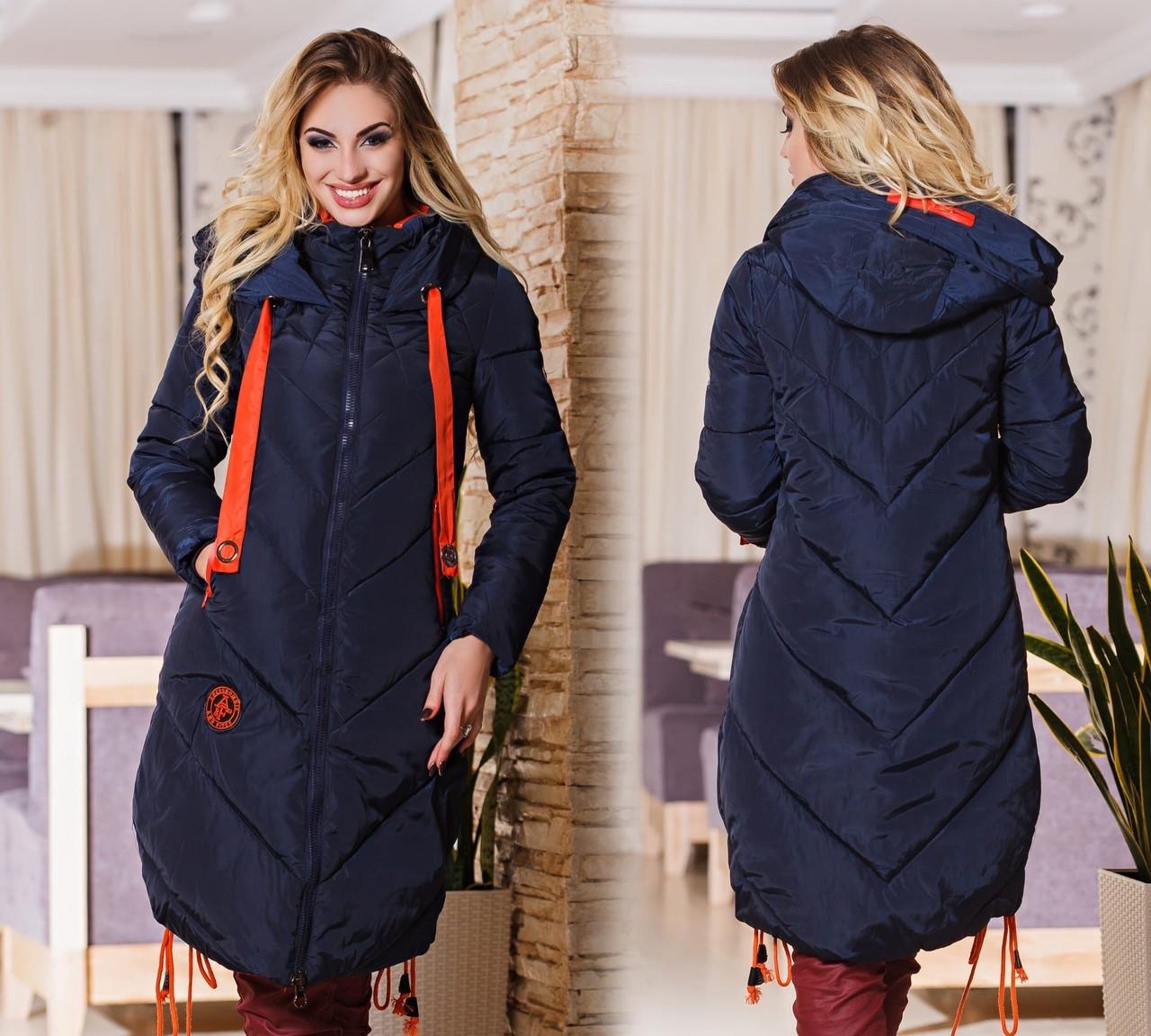 Стильное  женское пальто с капюшоном и на молнии,с карманами.один размер.цвет синий