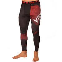 Спортивные лосины компрессионные VENUM черно-красные 8236, L