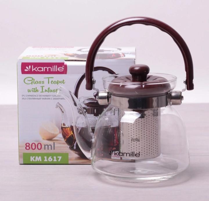 Заварник для чая Kamille 800 мл со съемным ситечком и бакелитовой ручкой KM-1617