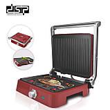 Прижимной гриль DSP1048 антипригарное покрытие, регулировка температуры, открывается на 180 градусов, фото 4