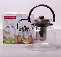 Заварник для чая Kamille 1400 мл со съемным ситечком и бакелитовой ручкой KM-1611