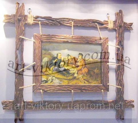 """Картина в деревянной раме """"Охотники на привале"""", фото 2"""