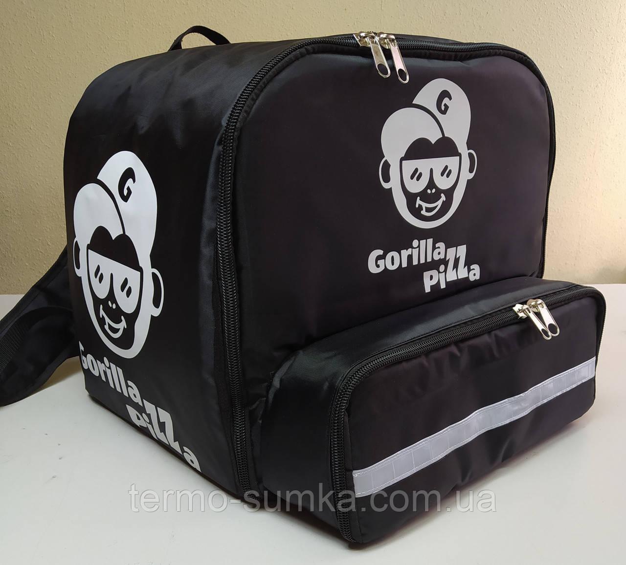 Рюкзак, термосумка для доставки еды с отделением для коробок на пиццу 42*42 см