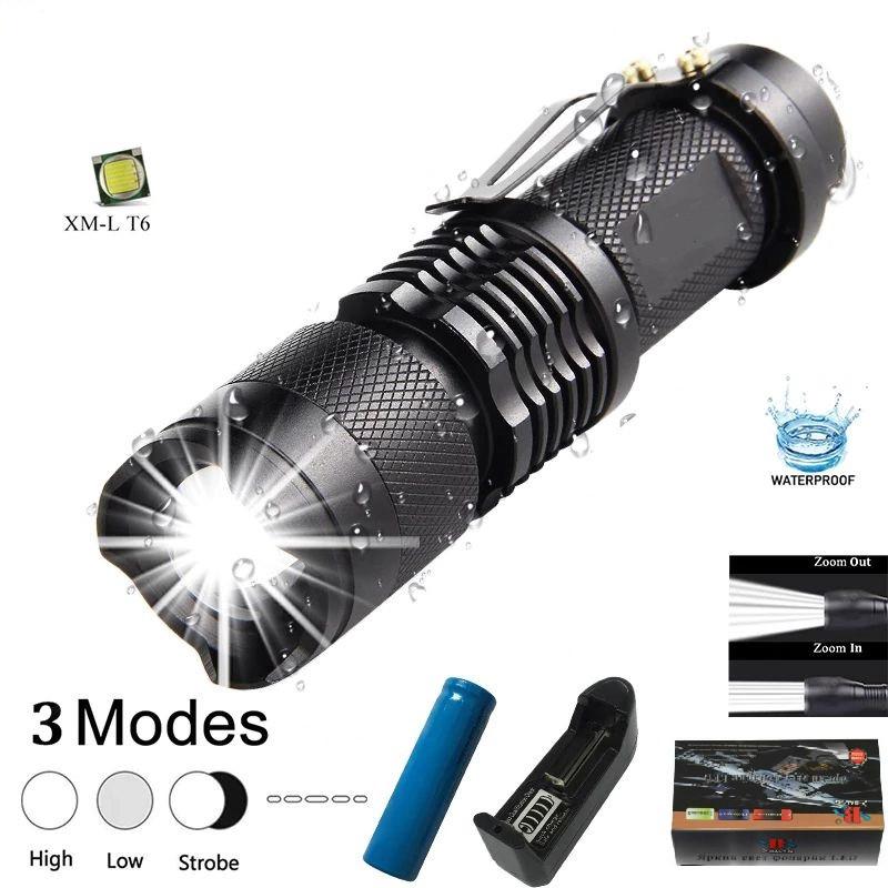 Тактический карманный фонарь Bailong BL-1812-T6 zoom, зажим, полный комплект