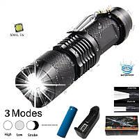 Тактический карманный фонарь Bailong BL-1812-T6 zoom, зажим, полный комплект, фото 1