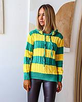 Женский свитер в широкую полоску с капюшоном, фото 1
