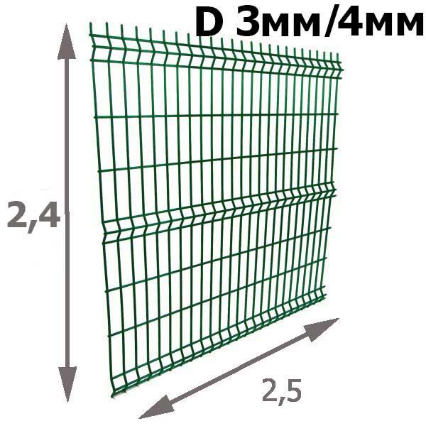Забор из 3D панелей: Секция Cварная 2,4х2,5м (зеленая) D=3мм/4мм