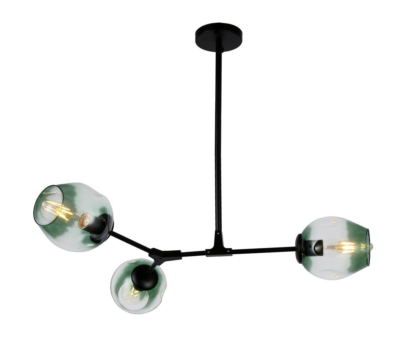 Люстра подвесная на три плафона на черном основании Bubble в стиле loft LV 752L7731-3 BK+GR