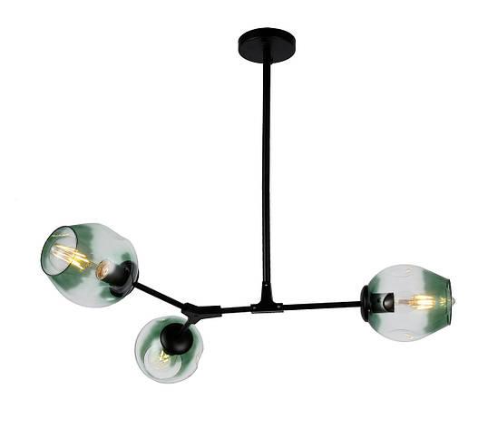 Люстра подвесная на три плафона на черном основании Bubble в стиле loft LV 752L7731-3 BK+GR, фото 2