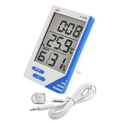 Термометр с гигрометром Digital KT 908 + выносной датчик будильник Белый (20053100167)