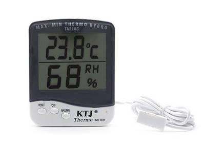 Термогигрометр KTJ Thermo TA218C с выносным датчиком температуры и влажности Белый (20053100204)