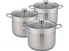 Набор посуды из нержавеющей стали Con Brio 3 предмета 9л/11л/13,5л (CB-1153)