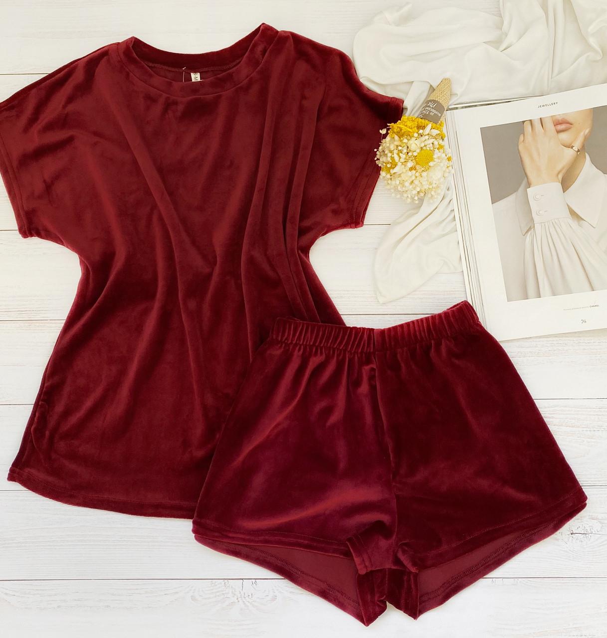 Жіночий плюшевий комплект футболка і шорти L-XL бордо