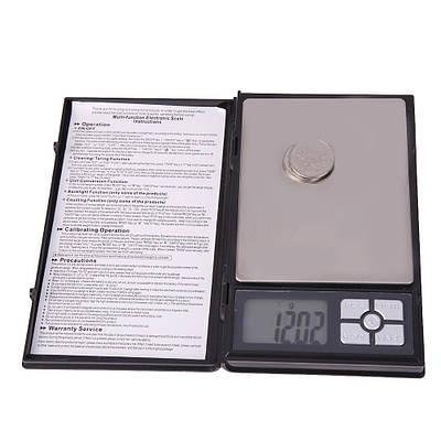 Карманные ювелирные электронные весы UKC AG 0.01-500 гр Big 12000 Черный (20053100297)